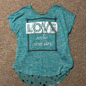 Turquoise embroidered and knitted blouse